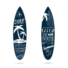 surfboard set textured in blue color illustration