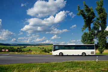 The white bus driving on the asphalt road past the two tall cottonwoods in the countryside under a blue sky with white dramatic clouds.