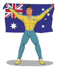Vector australia players celebrate the championship. And raising