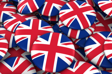 United Kingdom Badges Background - Pile of UK Flag Buttons 3D Illustration