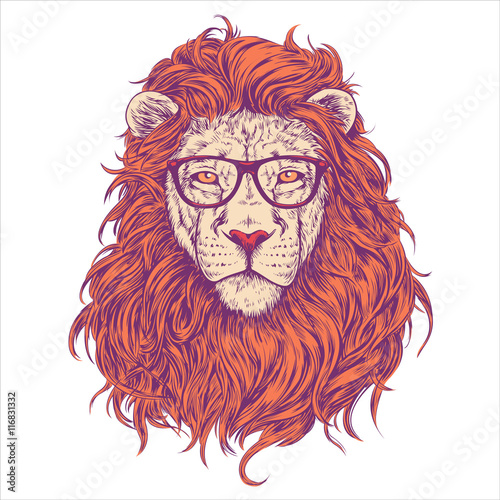 Lion Head Illustration with glasses