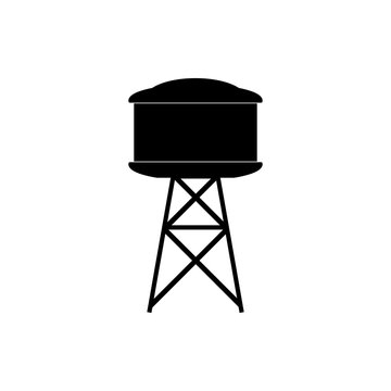 Industrial construction with water tank icon