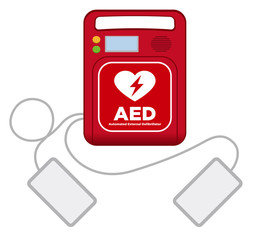 AED(Automated External Defibrillator), main machine and electrode pads