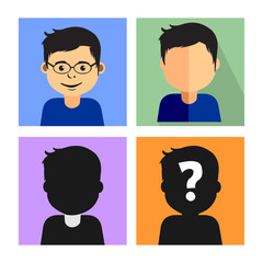 Different Styles of Avatar Face Icon - Social Media Profile Picture Illustration