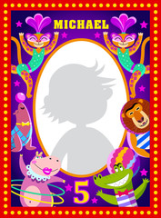 Kids photo frame. Vector illustration with cartoon circus artists: leopard, hippo, lion, crocodile, seal.