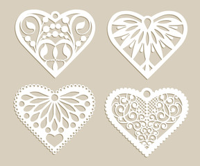 Set Stencil Lacy Hearts With Carved Openwork Pattern Template For Interior Design Layouts Wedding