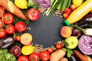 Frame of colorful fruits and vegetables background