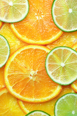 Orange and lime slices background