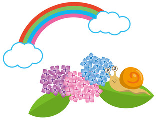 カタツムリとアジサイと虹のイメージイラスト