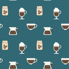 seamless pattern of coffee and mug background design wallpaper for coffee shops