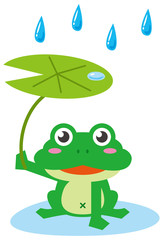雨降りにカエルが葉っぱ傘をさしているイメージイラスト