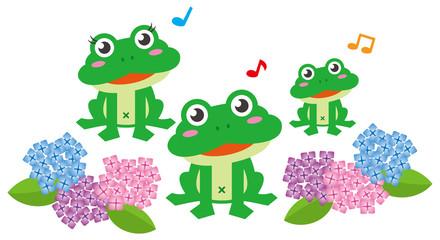 カエル3匹とアジサイのイメージイラスト