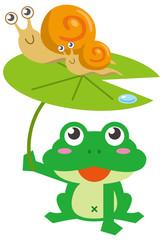 カエルとカタツムリのイメージイラスト