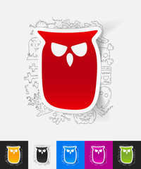 owl paper sticker with hand drawn elements
