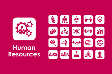 Set of human resources simple icons
