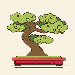 flat icon of bonsai tree
