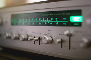 Vintage Stereo Receiver close up . Dial Pointer .