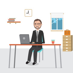 Business man working in the co-working space infographics elemen