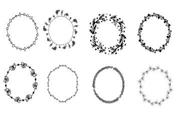 Hand drawn frames set. Doodle frames. Sketch style. Vector illustartion