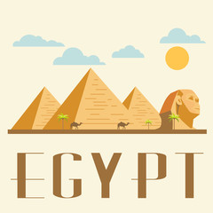 Egypt travel and landmark. Concept Vector Illustration