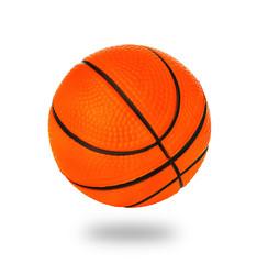 Orange basket ball close-up isolated on a white background.