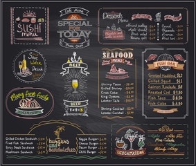 Chalk menu list blackboard designs set for cafe or restaurant