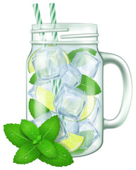 Mojito in a mason jar mug. Vector illustration.