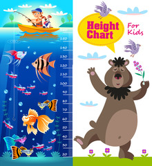 Kids height chart with cartoon fishes and bear. Vector illustration in cartoon style