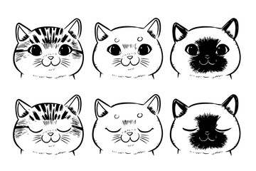 Vector set of Drawing cat face isolated on white background