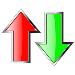 Up and down arrows. Red and green shiny arrow with metal frame