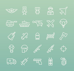 Set of Quality Universal Standard Minimal Simple War White Thin Line Icons on Color Background.