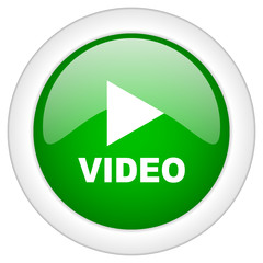 Green glossy round video vector web icon