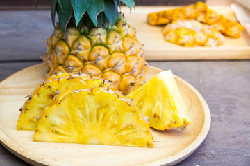 Pineapple and fork - Summer time vacation holiday healthy concept .