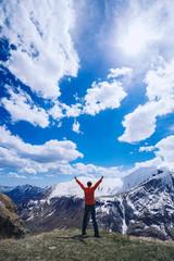 Man on top of mountain. Conceptual scene.