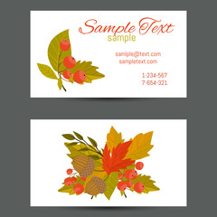 Business card with autumn background leaf vector illustration