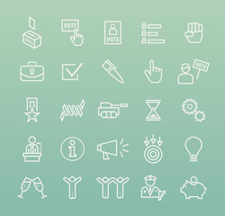 Set of Quality Isolated Universal Standard Minimal Simple Political White Thin Line Icons on Color Background.