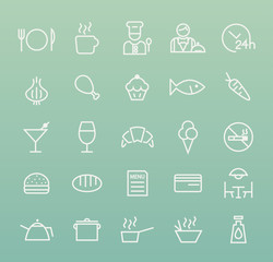 Set of Quality Universal Standard Minimal Simple Restaurant White Thin Line Icons on Color Background.