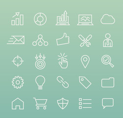 Set of Isolated Quality Universal Standard Minimal Simple White SEO and Development Thin Line Icons on Color Background.