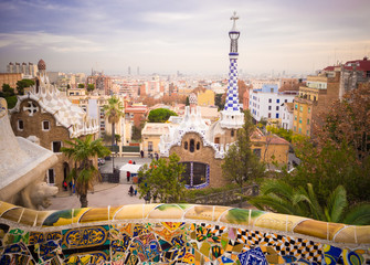 Park Guell designed by Antonio Gaudi, Barcelona, Spain
