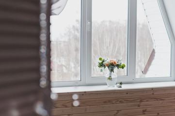 A bouquet of flowers on the windowsill beautiful Windows 6352.