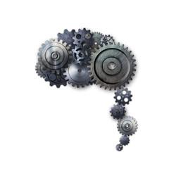 metal gear on white background look like a human brain.