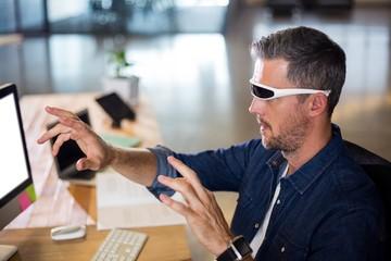 Man wearing virtual reality glass