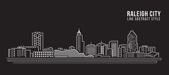 Cityscape Building Line art Vector Illustration design - Raleigh City