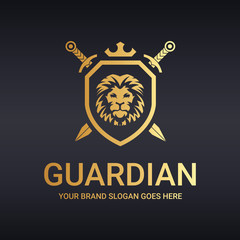 Guardian logo. Lion shield. Warrior logo.