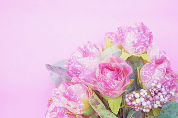 soft focus of sweet artificial pink roses bouquet