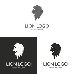 Lion head. Logo template suitable for businesses and product names. Easy to edit, change size, color and text.