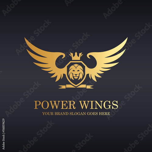 Red winged lion logo