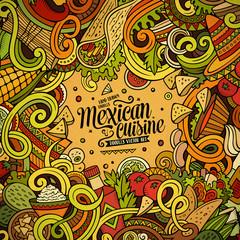 Cartoon mexican food doodles frame design