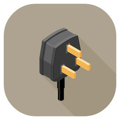 A vector illustration of a Power Plug flat icon design. 
