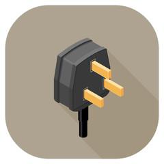 A vector illustration of a Power Plug flat icon design.  Plug Icon Concept - Three Pin Plug.